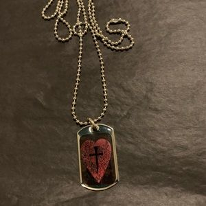 Jewelry - Cross in Heart dog tag necklace